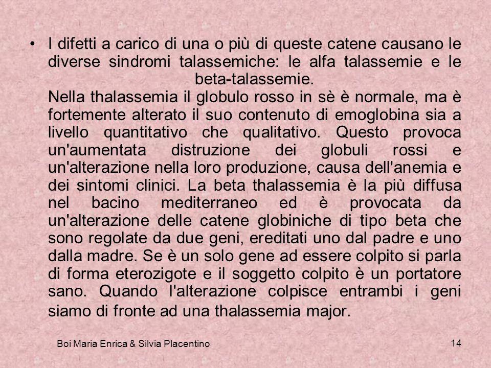 Boi Maria Enrica & Silvia Placentino 14 I difetti a carico di una o più di queste catene causano le diverse sindromi talassemiche: le alfa talassemie