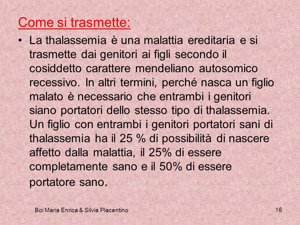 Boi Maria Enrica & Silvia Placentino 16 Come si trasmette: La thalassemia è una malattia ereditaria e si trasmette dai genitori ai figli secondo il co
