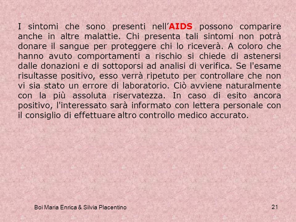 Boi Maria Enrica & Silvia Placentino 21 I sintomi che sono presenti nellAIDS possono comparire anche in altre malattie. Chi presenta tali sintomi non