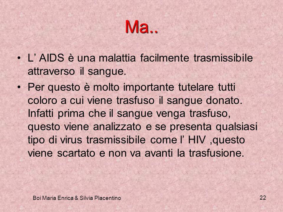 Boi Maria Enrica & Silvia Placentino 22 Ma.. L AIDS è una malattia facilmente trasmissibile attraverso il sangue. Per questo è molto importante tutela