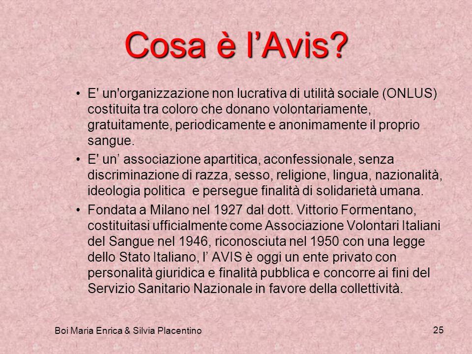 Boi Maria Enrica & Silvia Placentino 25 Cosa è lAvis? E' un'organizzazione non lucrativa di utilità sociale (ONLUS) costituita tra coloro che donano v