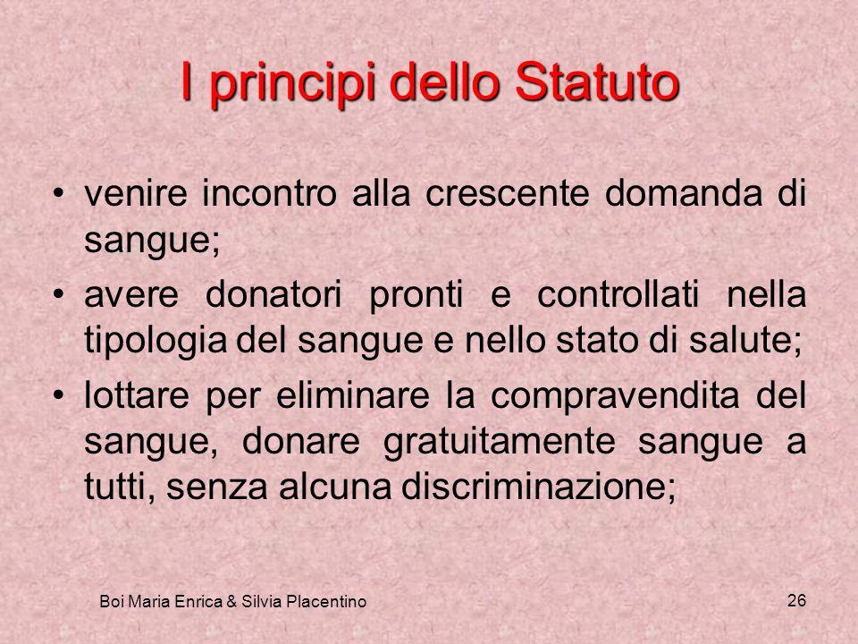 Boi Maria Enrica & Silvia Placentino 26 I principi dello Statuto venire incontro alla crescente domanda di sangue; avere donatori pronti e controllati