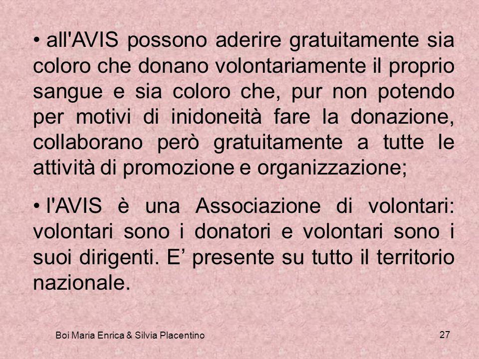 Boi Maria Enrica & Silvia Placentino 27 all'AVIS possono aderire gratuitamente sia coloro che donano volontariamente il proprio sangue e sia coloro ch