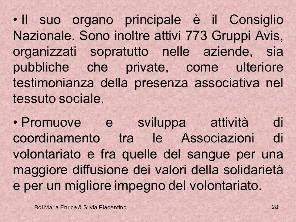 Boi Maria Enrica & Silvia Placentino 28 Il suo organo principale è il Consiglio Nazionale. Sono inoltre attivi 773 Gruppi Avis, organizzati sopratutto