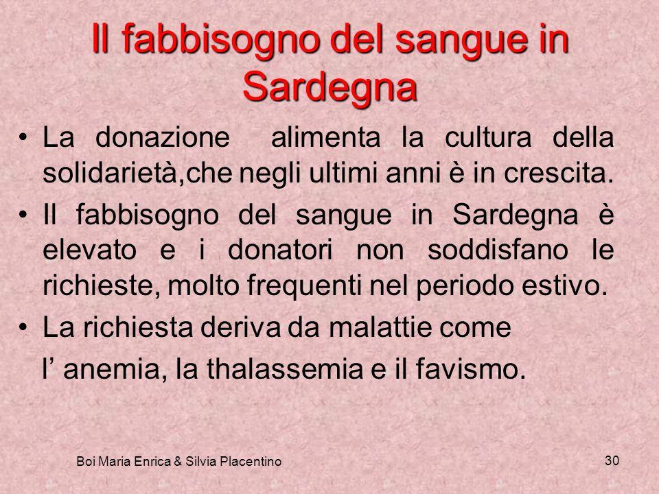 Boi Maria Enrica & Silvia Placentino 30 Il fabbisogno del sangue in Sardegna La donazione alimenta la cultura della solidarietà,che negli ultimi anni
