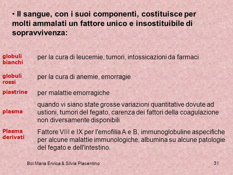 Boi Maria Enrica & Silvia Placentino 31 Il sangue, con i suoi componenti, costituisce per molti ammalati un fattore unico e insostituibile di sopravvi