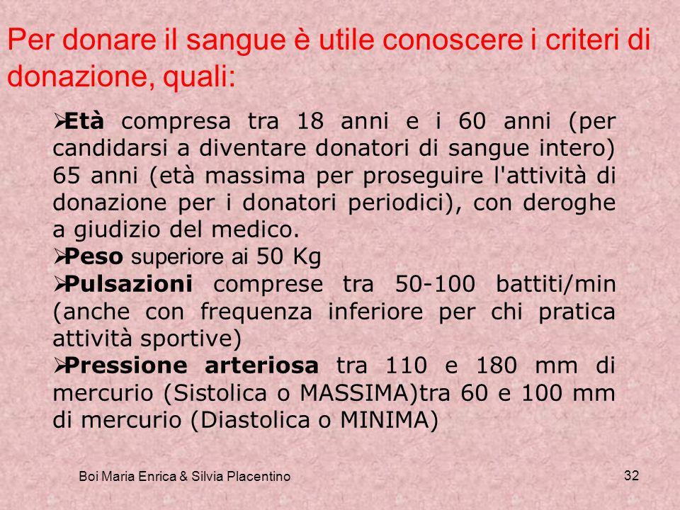 Boi Maria Enrica & Silvia Placentino 32 Per donare il sangue è utile conoscere i criteri di donazione, quali: Età compresa tra 18 anni e i 60 anni (pe