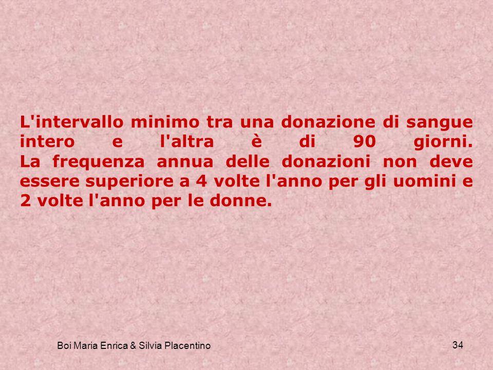 Boi Maria Enrica & Silvia Placentino 34 L'intervallo minimo tra una donazione di sangue intero e l'altra è di 90 giorni. La frequenza annua delle dona