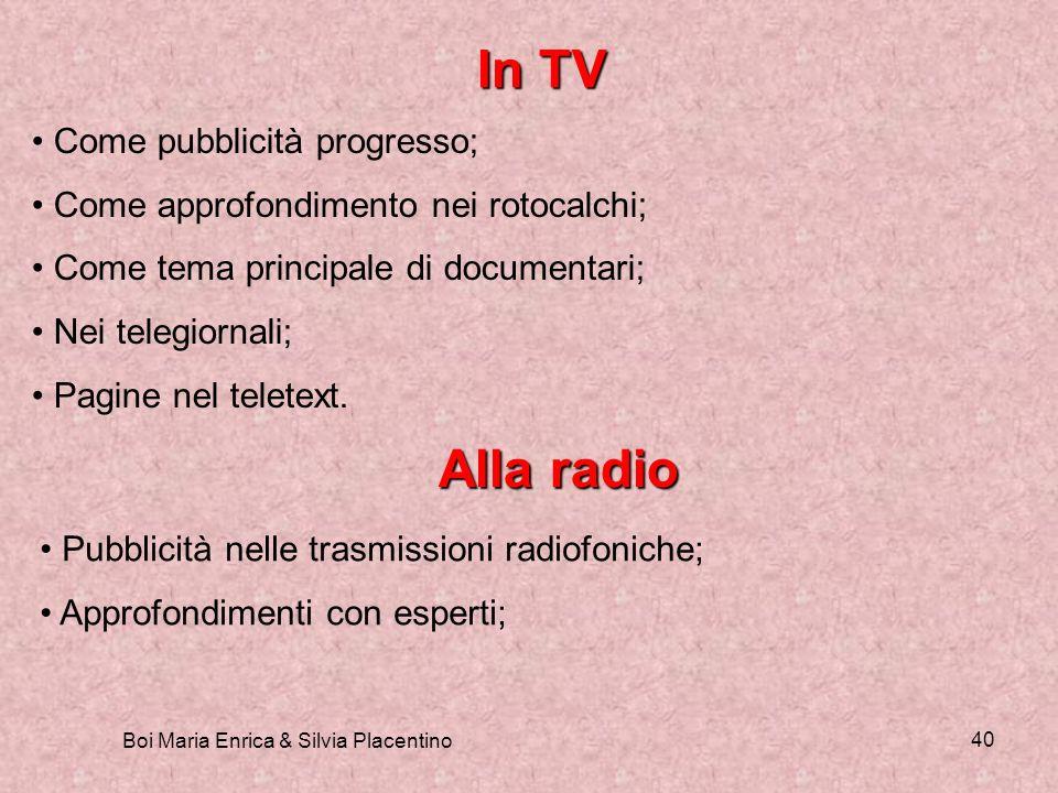 Boi Maria Enrica & Silvia Placentino 40 In TV Come pubblicità progresso; Come approfondimento nei rotocalchi; Come tema principale di documentari; Nei