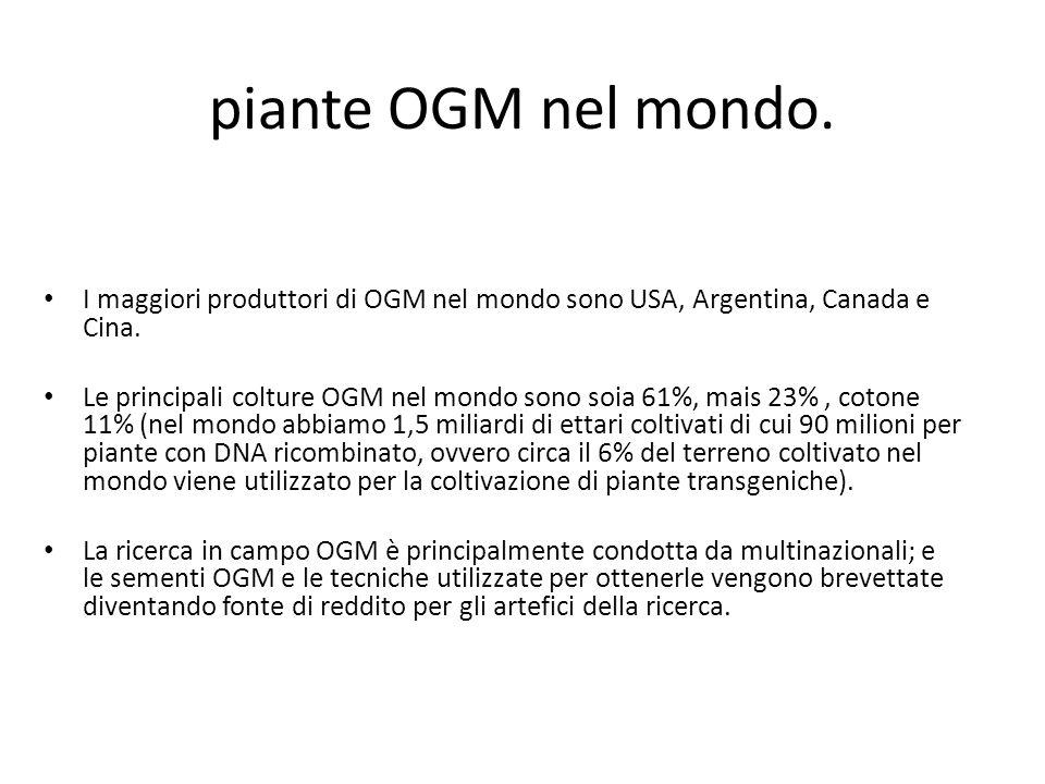 piante OGM nel mondo. I maggiori produttori di OGM nel mondo sono USA, Argentina, Canada e Cina. Le principali colture OGM nel mondo sono soia 61%, ma