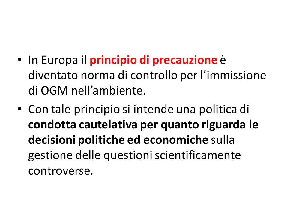 In Europa il principio di precauzione è diventato norma di controllo per limmissione di OGM nellambiente. Con tale principio si intende una politica d