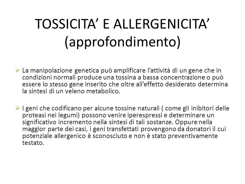 TOSSICITA E ALLERGENICITA (approfondimento) La manipolazione genetica può amplificare lattività di un gene che in condizioni normali produce una tossi