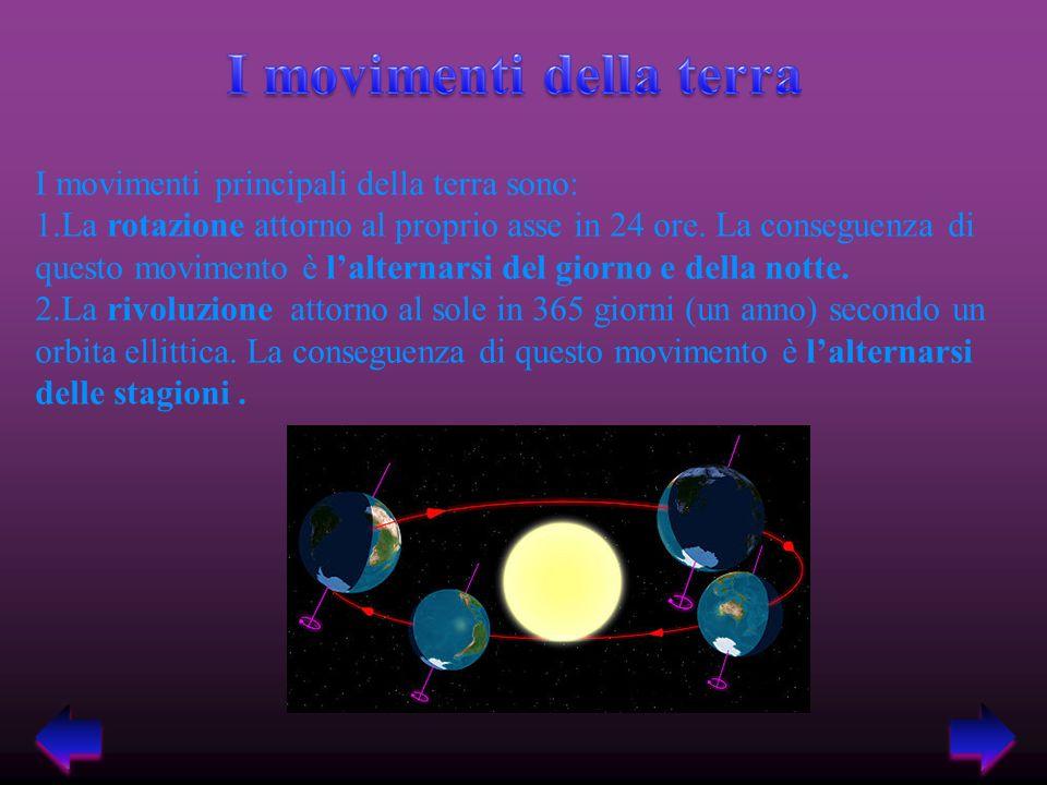 I movimenti principali della terra sono: 1.La rotazione attorno al proprio asse in 24 ore.