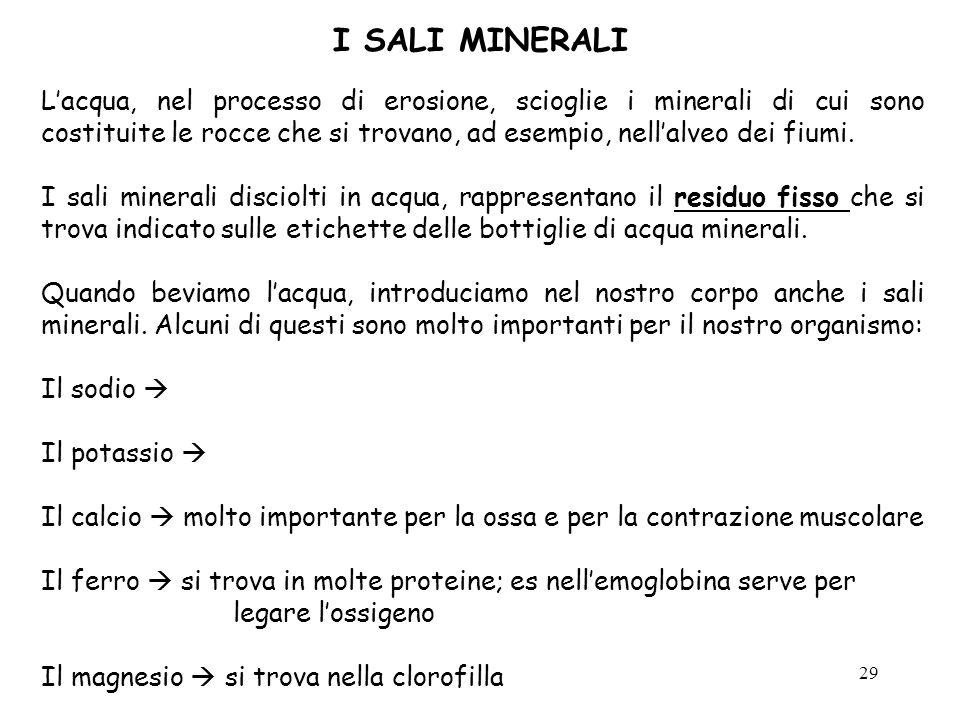 29 I SALI MINERALI Lacqua, nel processo di erosione, scioglie i minerali di cui sono costituite le rocce che si trovano, ad esempio, nellalveo dei fiu