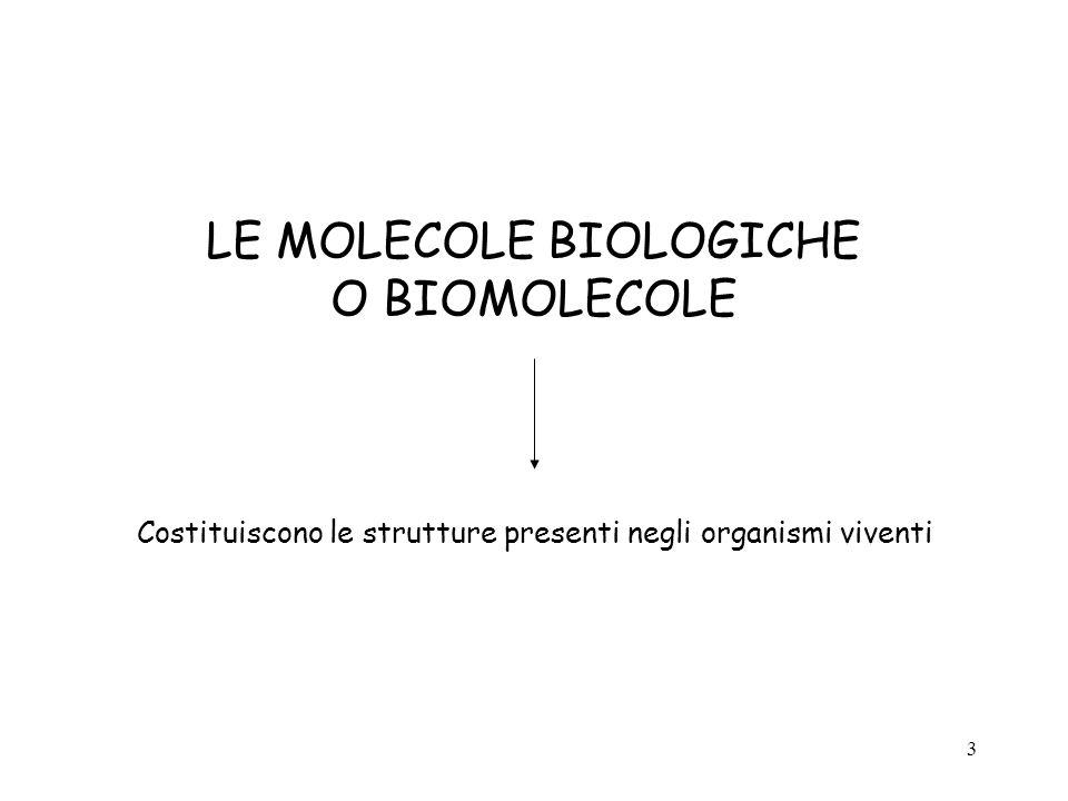 3 LE MOLECOLE BIOLOGICHE O BIOMOLECOLE Costituiscono le strutture presenti negli organismi viventi