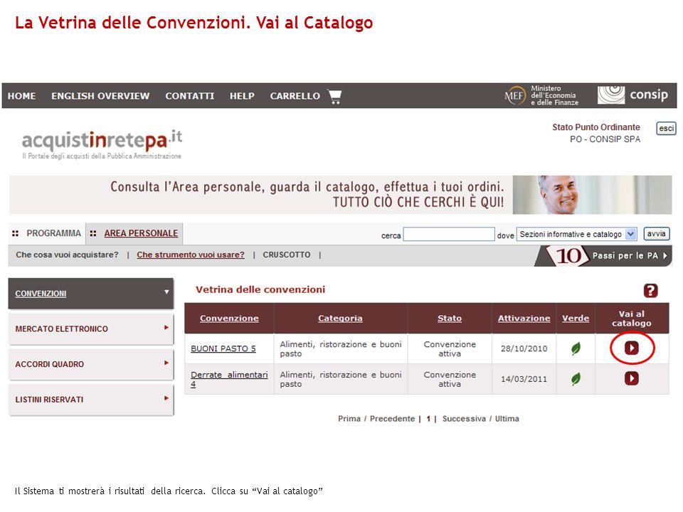 Il Sistema ti mostrerà i risultati della ricerca. Clicca su Vai al catalogo La Vetrina delle Convenzioni. Vai al Catalogo