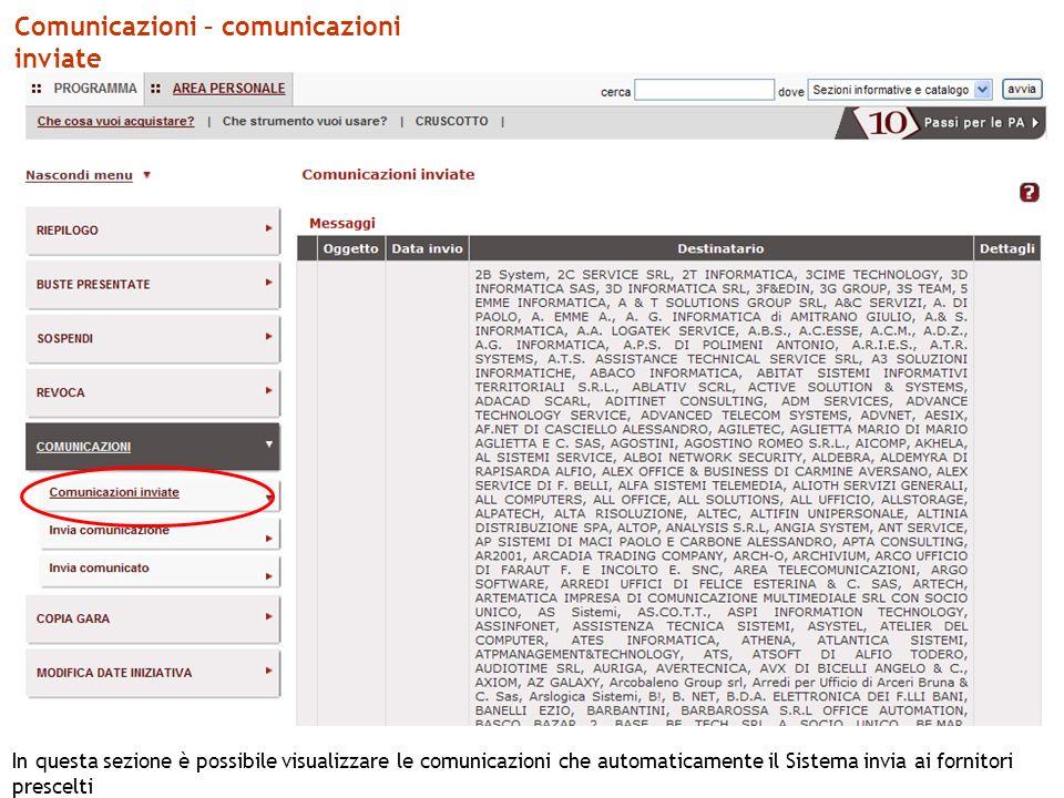 Comunicazioni – comunicazioni inviate In questa sezione è possibile visualizzare le comunicazioni che automaticamente il Sistema invia ai fornitori prescelti
