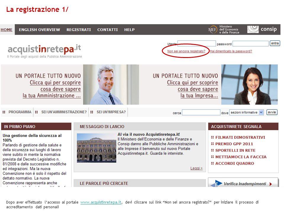 La registrazione 1/ Dopo aver effettuato laccesso al portale www.acquistinretepa.it, devi cliccare sul link Non sei ancora registrato.