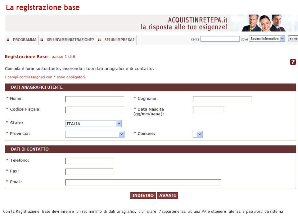 Con la Registrazione Base devi inserire un set minimo di dati anagrafici, dichiarare lappartenenza ad una PA e ottenere utenza e password da sistema La registrazione base
