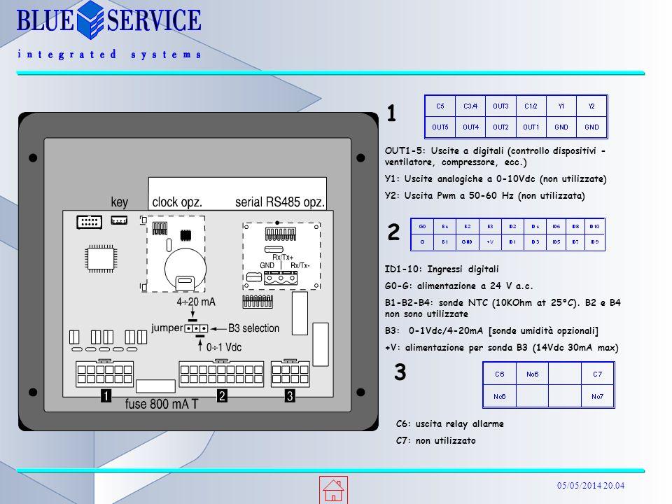 05/05/2014 20.04 OUT1-5: Uscite a digitali (controllo dispositivi - ventilatore, compressore, ecc.) Y1: Uscite analogiche a 0-10Vdc (non utilizzate) Y2: Uscita Pwm a 50-60 Hz (non utilizzata) 1 ID1-10: Ingressi digitali G0-G: alimentazione a 24 V a.c.