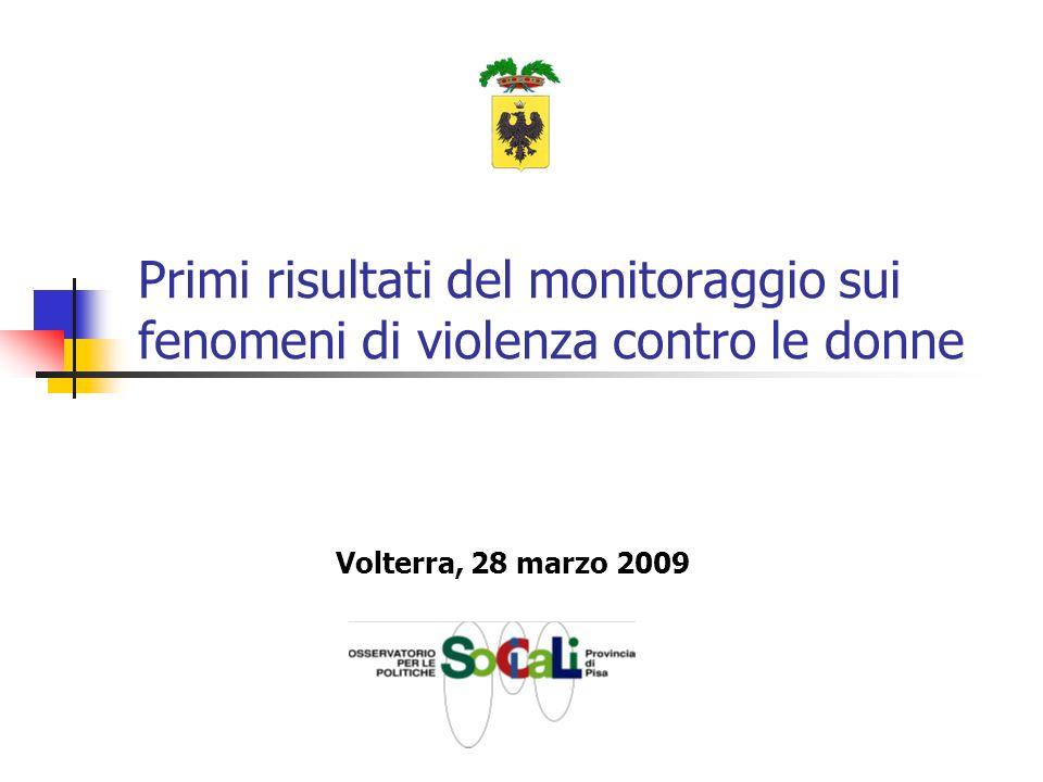 Primi risultati del monitoraggio sui fenomeni di violenza contro le donne Volterra, 28 marzo 2009