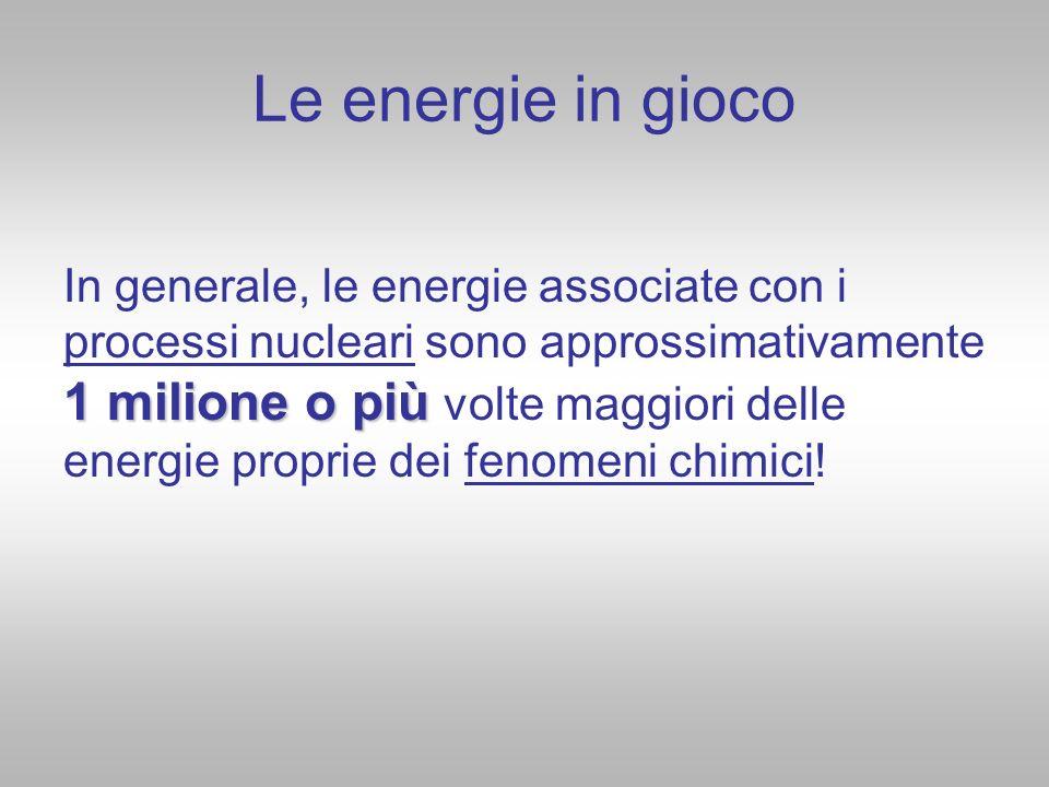 Le energie in gioco 1 milione o più In generale, le energie associate con i processi nucleari sono approssimativamente 1 milione o più volte maggiori