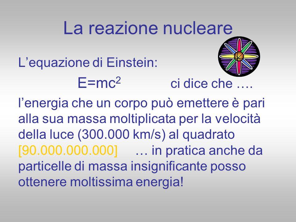 La reazione nucleare Lequazione di Einstein: E=mc 2 ci dice che …. lenergia che un corpo può emettere è pari alla sua massa moltiplicata per la veloci