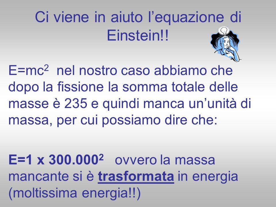Ci viene in aiuto lequazione di Einstein!! E=mc 2 nel nostro caso abbiamo che dopo la fissione la somma totale delle masse è 235 e quindi manca ununit