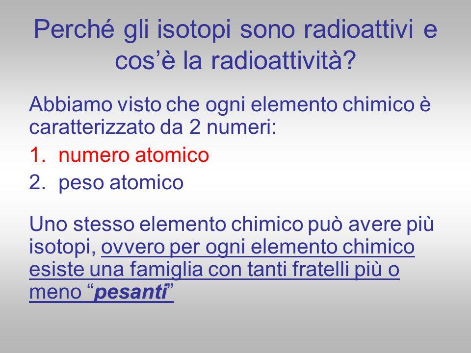 Perché gli isotopi sono radioattivi e cosè la radioattività? Abbiamo visto che ogni elemento chimico è caratterizzato da 2 numeri: 1. numero atomico 2