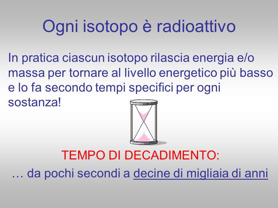 Ogni isotopo è radioattivo In pratica ciascun isotopo rilascia energia e/o massa per tornare al livello energetico più basso e lo fa secondo tempi spe