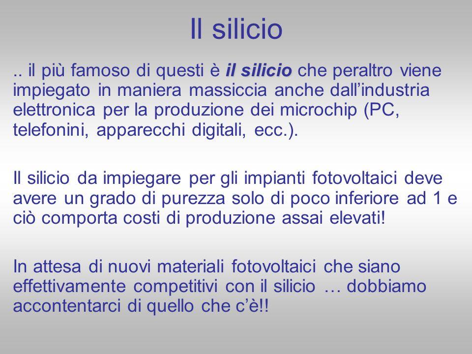 Il silicio il silicio.. il più famoso di questi è il silicio che peraltro viene impiegato in maniera massiccia anche dallindustria elettronica per la