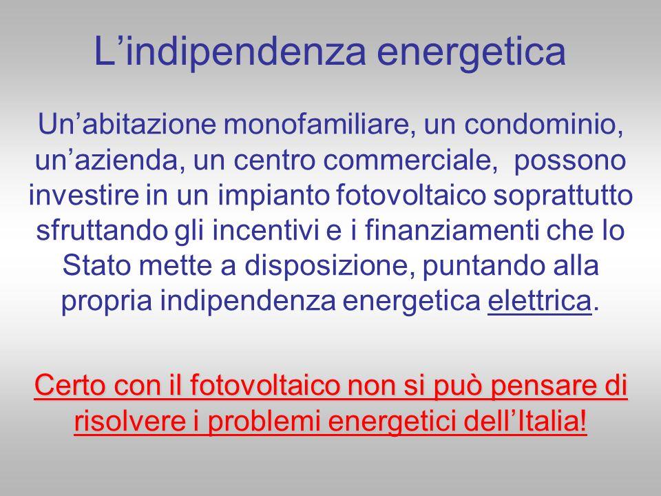 Lindipendenza energetica Unabitazione monofamiliare, un condominio, unazienda, un centro commerciale, possono investire in un impianto fotovoltaico so