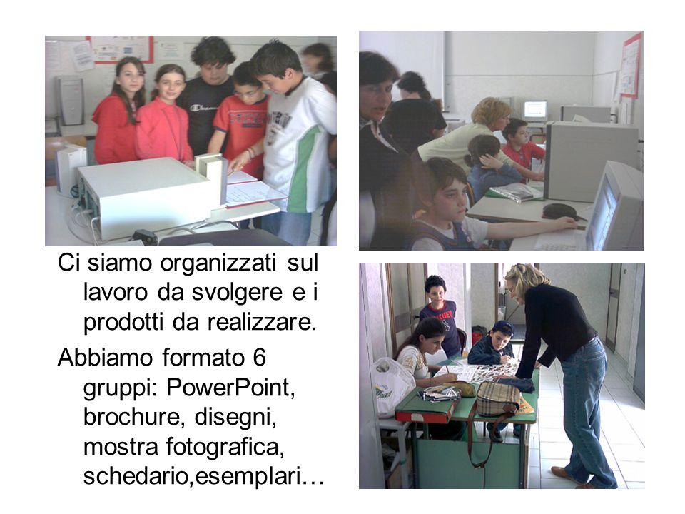 Ci siamo organizzati sul lavoro da svolgere e i prodotti da realizzare. Abbiamo formato 6 gruppi: PowerPoint, brochure, disegni, mostra fotografica, s