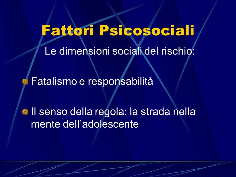 Fattori Psicosociali Le dimensioni sociali del rischio: Fatalismo e responsabilità Il senso della regola: la strada nella mente delladolescente