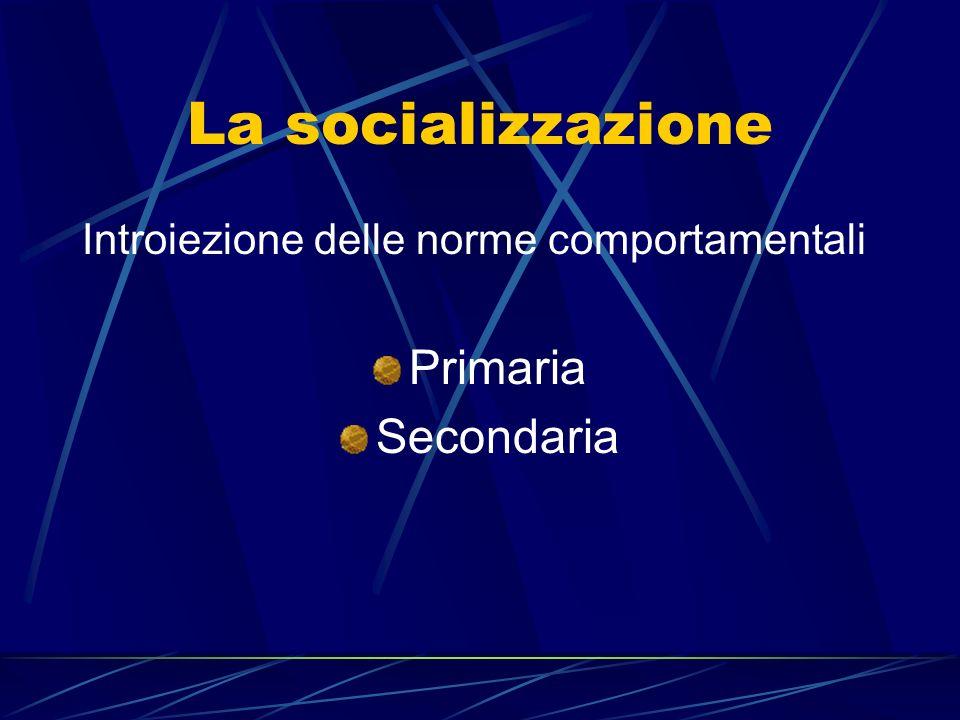 La socializzazione Introiezione delle norme comportamentali Primaria Secondaria
