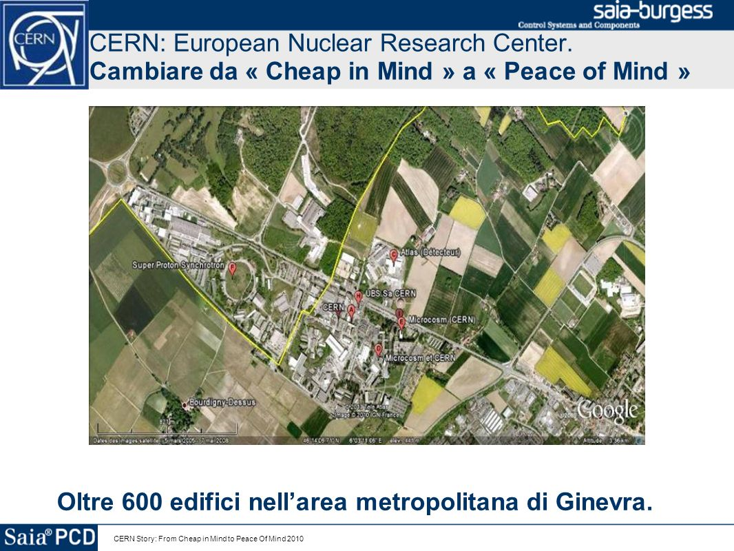 CERN Story: From Cheap in Mind to Peace Of Mind 2010 CERN: European Nuclear Research Center. Cambiare da « Cheap in Mind » a « Peace of Mind » Oltre 6