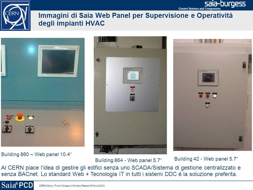 CERN Story: From Cheap in Mind to Peace Of Mind 2010 Immagini di Saia Web Panel per Supervisione e Operatività degli impianti HVAC Building 860 – Web