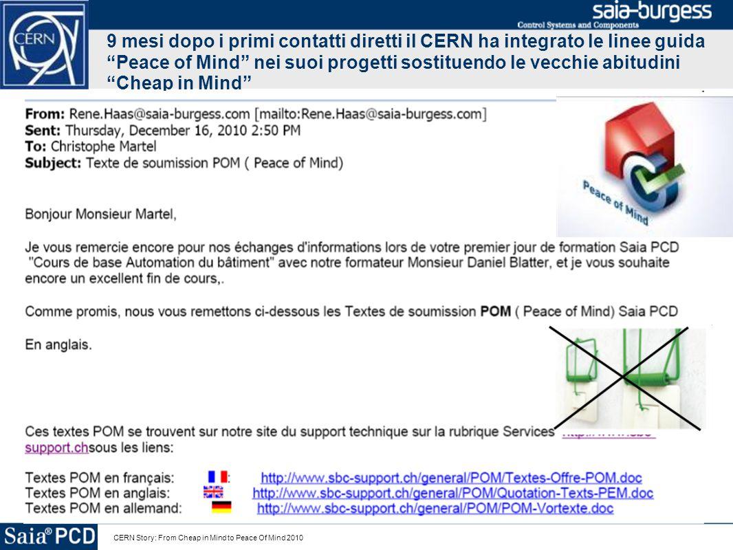 CERN Story: From Cheap in Mind to Peace Of Mind 2010 9 mesi dopo i primi contatti diretti il CERN ha integrato le linee guida Peace of Mind nei suoi p