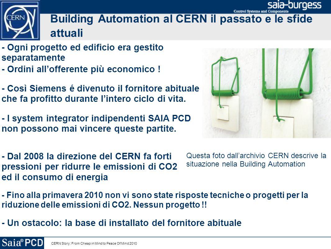 CERN Story: From Cheap in Mind to Peace Of Mind 2010 Building Automation al CERN il passato e le sfide attuali - I system integrator indipendenti SAIA