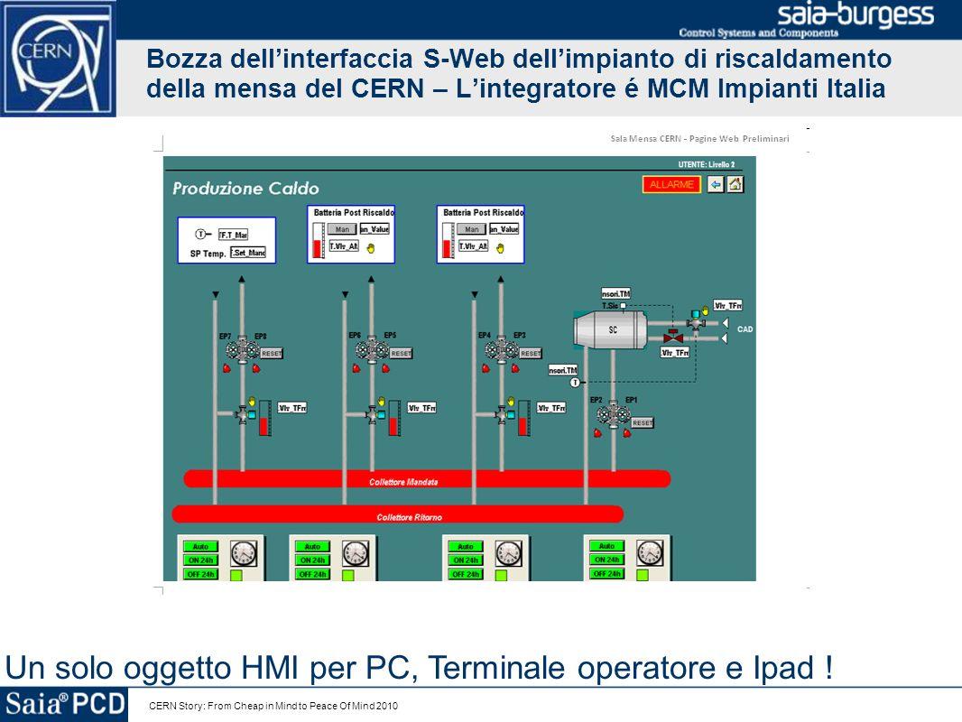 CERN Story: From Cheap in Mind to Peace Of Mind 2010 Bozza dellinterfaccia S-Web dellimpianto di riscaldamento della mensa del CERN – Lintegratore é M
