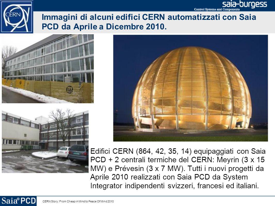 CERN Story: From Cheap in Mind to Peace Of Mind 2010 Immagini di alcuni edifici CERN automatizzati con Saia PCD da Aprile a Dicembre 2010. Edifici CER