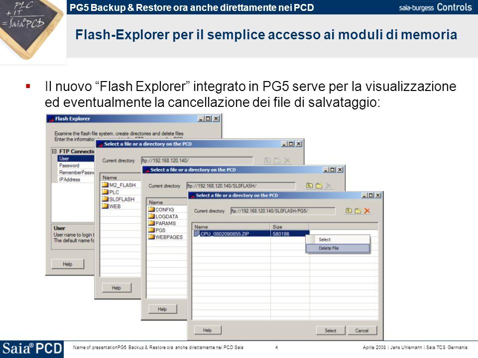 Aprile 2008 | Jens Uhlemann | Saia TCS Germania4Name of presentationPG5 Backup & Restore ora anche direttamente nei PCD Saia Flash-Explorer per il semplice accesso ai moduli di memoria Il nuovo Flash Explorer integrato in PG5 serve per la visualizzazione ed eventualmente la cancellazione dei file di salvataggio: PG5 Backup & Restore ora anche direttamente nei PCD