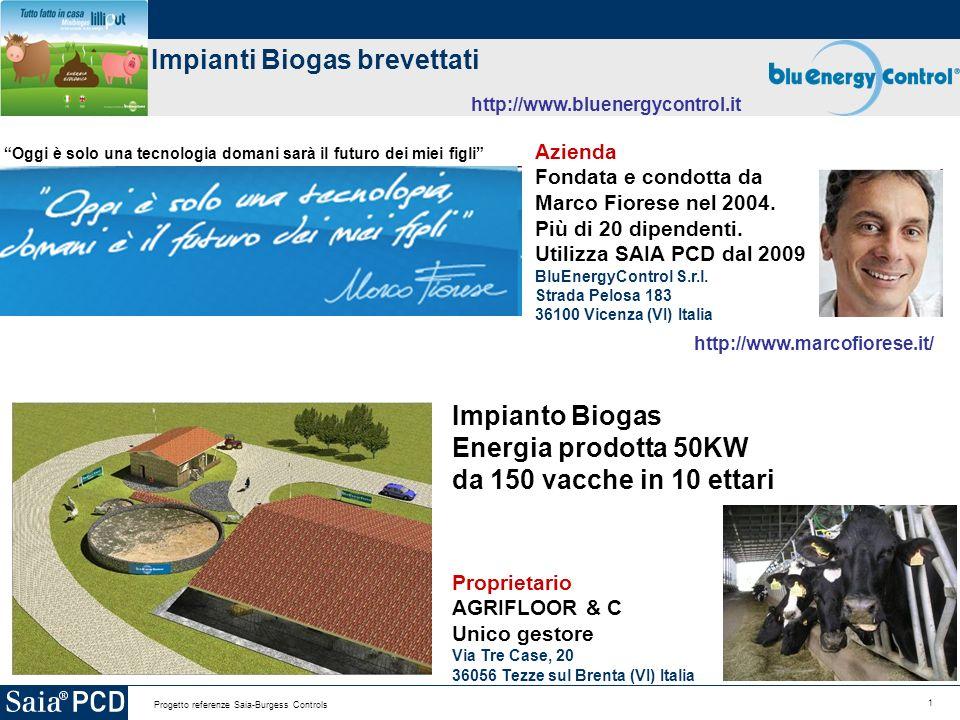 1 Progetto referenze Saia-Burgess Controls Impianti Biogas brevettati http://www.bluenergycontrol.it Azienda Fondata e condotta da Marco Fiorese nel 2004.