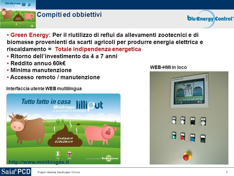 2 Progetto referenze Saia-Burgess Controls Compiti ed obbiettivi http://www.minibiogas.it Interfaccia utente WEB multilingua Green Energy: Per il riut