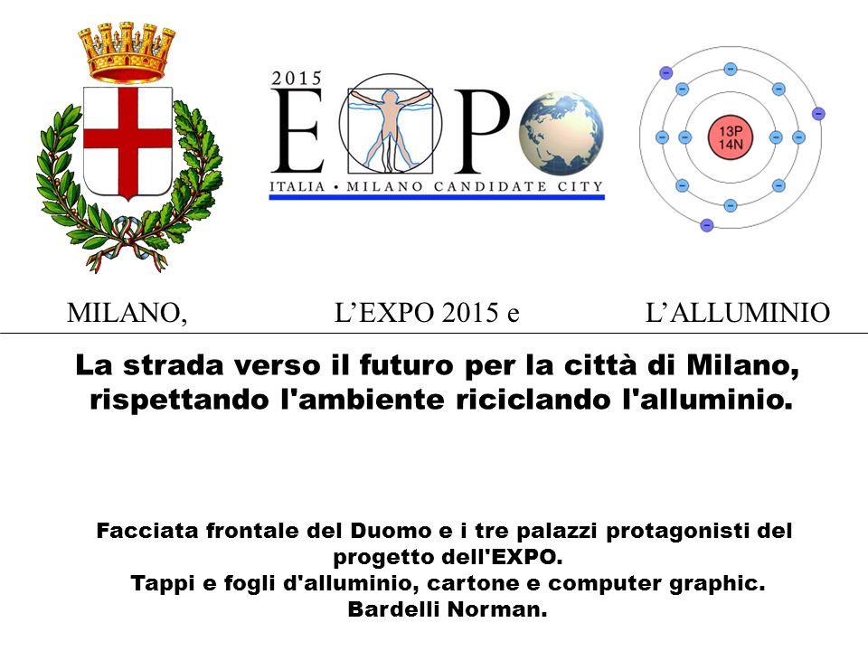 Facciata frontale del Duomo e i tre palazzi protagonisti del progetto dell EXPO.