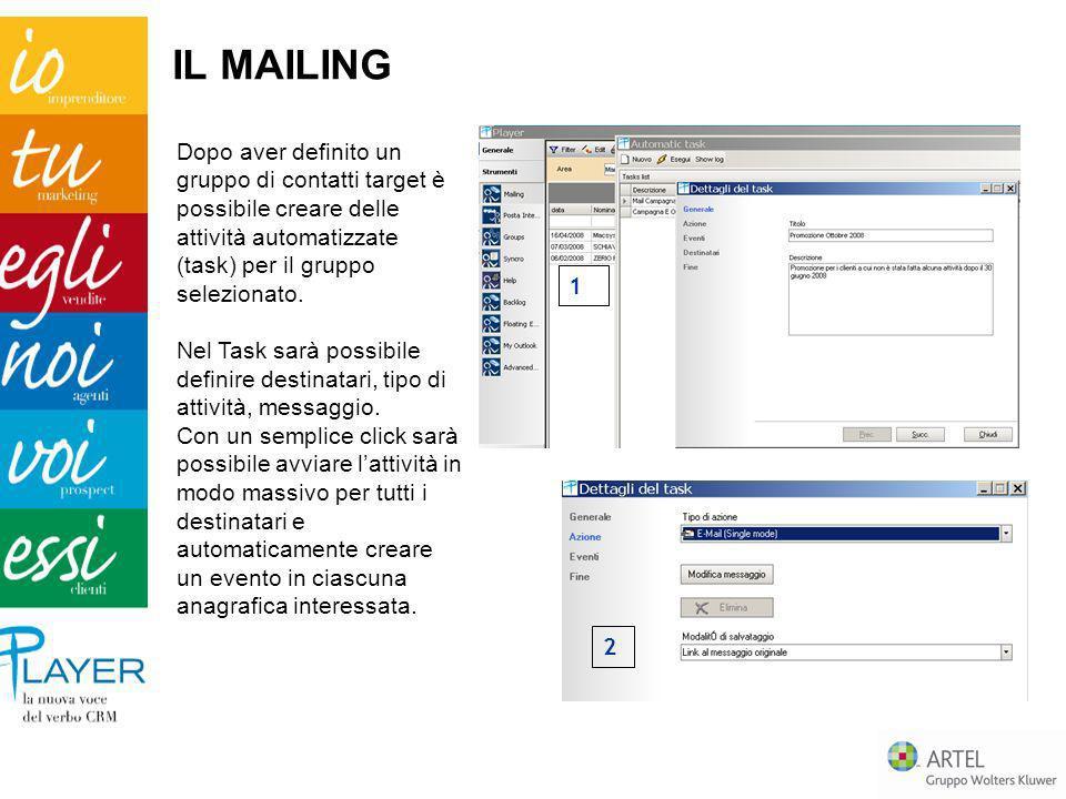 Dopo aver definito un gruppo di contatti target è possibile creare delle attività automatizzate (task) per il gruppo selezionato. Nel Task sarà possib