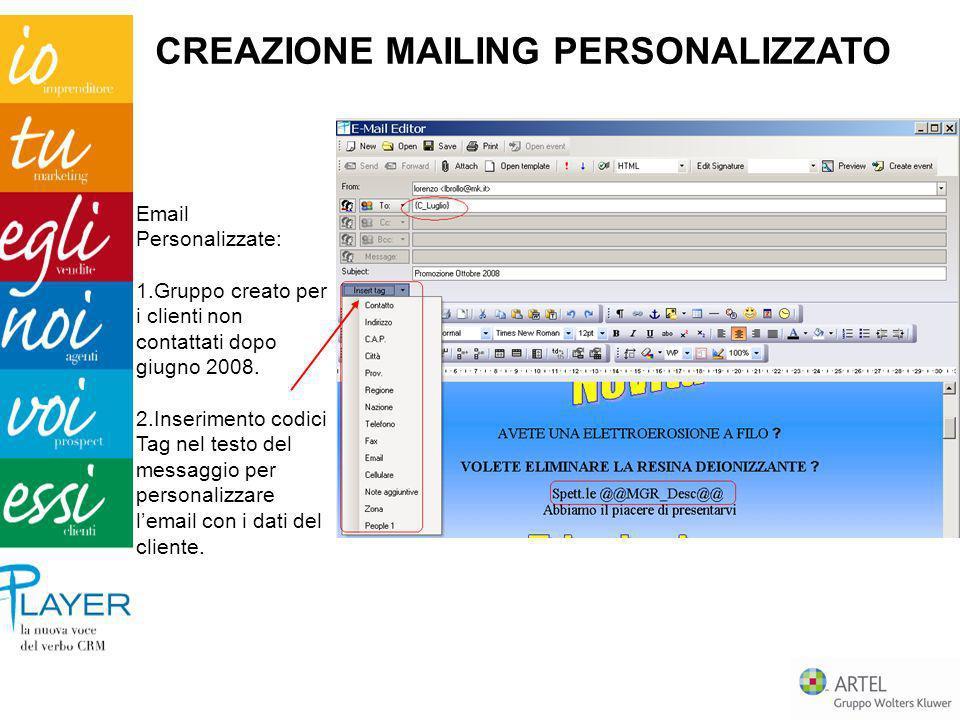 Email Personalizzate: 1.Gruppo creato per i clienti non contattati dopo giugno 2008. 2.Inserimento codici Tag nel testo del messaggio per personalizza