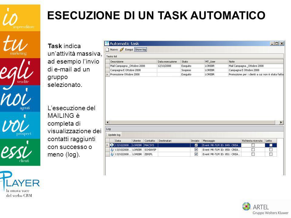 Task indica unattività massiva, ad esempio linvio di e-mail ad un gruppo selezionato. Lesecuzione del MAILING è completa di visualizzazione dei contat