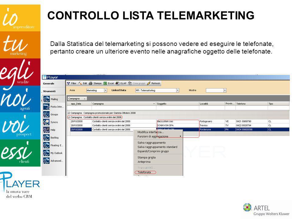 Dalla Statistica del telemarketing si possono vedere ed eseguire le telefonate, pertanto creare un ulteriore evento nelle anagrafiche oggetto delle te
