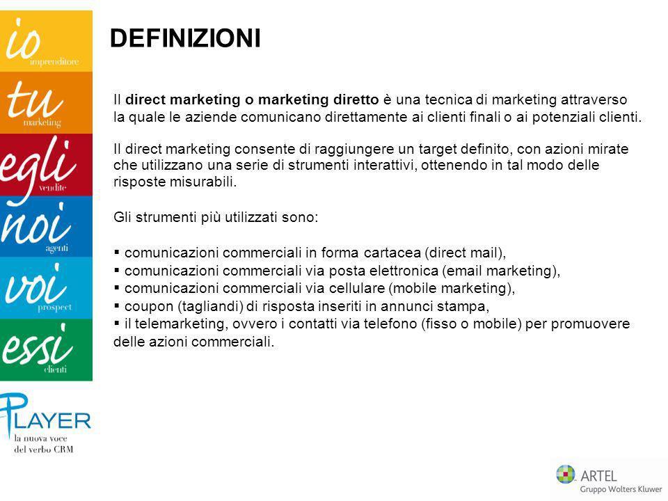 DEFINIZIONI Il direct marketing o marketing diretto è una tecnica di marketing attraverso la quale le aziende comunicano direttamente ai clienti final